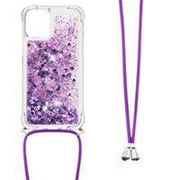 Lunso Backcover hoes met koord - iPhone 13 Pro Max - Glitter Paars