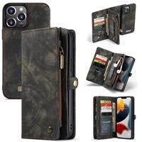 Caseme iPhone 13 Pro Max -  - vintage 2 in 1 portemonnee hoes - Zwart