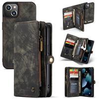 Caseme iPhone 13 -  - vintage 2 in 1 portemonnee hoes - Zwart