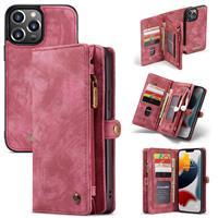 Caseme iPhone 13 Pro -  - vintage 2 in 1 portemonnee hoes - Rood