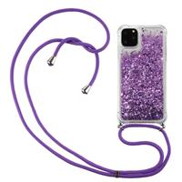 Lunso Backcover hoes met koord - iPhone 12 / iPhone 12 Pro - Glitter Paars