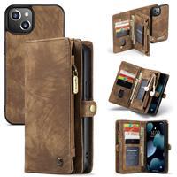 Caseme iPhone 13 -  - vintage 2 in 1 portemonnee hoes - Bruin