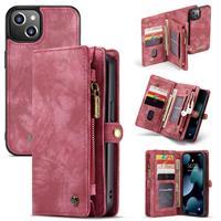 Caseme iPhone 13 -  - vintage 2 in 1 portemonnee hoes - Rood