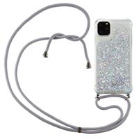 Lunso Backcover hoes met koord - iPhone 12 Pro Max - Glitter Zilver