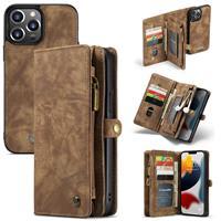 Caseme iPhone 13 Pro -  - vintage 2 in 1 portemonnee hoes - Bruin