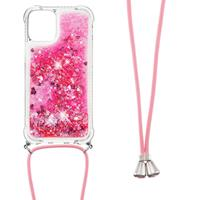 Lunso Backcover hoes met koord - iPhone 13 Pro Max - Glitter Roze