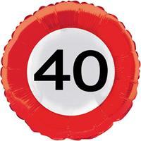 40 jaar verkeersbord folieballon - 46 cm