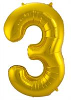 Gouden Folieballon Cijfer 3 - cm