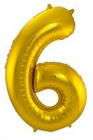 Gouden Folieballon Cijfer 6 - cm