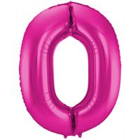 Magenta Folieballon Cijfer 0 - cm