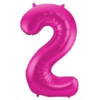 Roze Folieballon Cijfer 2 - cm