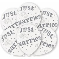 Net getrouwd ballonnen wit 6 stuks