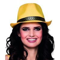Bellatio Gele trilby hoed voor volwassenen