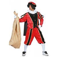 Bellatio Rood/zwarte pieten kostuum fluweel Rood