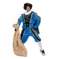 Bellatio Blauw/zwarte Pieten kostuum fluweel Blauw