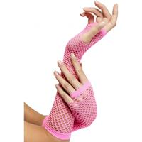 Smiffys Visnet handschoenen roze
