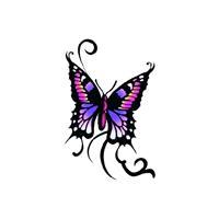Bellatio Vlinder glitter tattoo zwart/paars