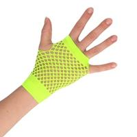 Groene grunge/gothic korte visnet handschoenen voor volwassenen
