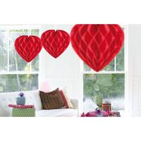 3x Hangende hartjes deco bollen rood 30 cm Rood