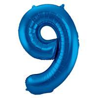 EzyDog Folie Ballon Cijfer 9 Blauw cm