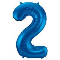 EzyDog Folie Ballon Cijfer 2 Blauw cm