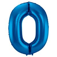 EzyDog Folie Ballon Cijfer 0 Blauw cm