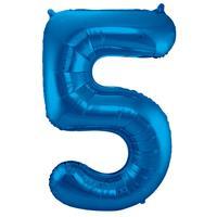 EzyDog Folie Ballon Cijfer 5 Blauw cm
