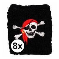 8 stuks Piraten zweetbandje Zwart