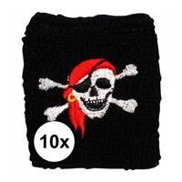 10 stuks Piraten zweetbandje Zwart
