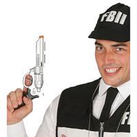 Speelgoed revolver zilver 28 cm Zilver