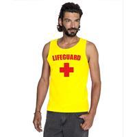 Shoppartners Sexy lifeguard/ strandwacht mouwloos shirt geel heren Geel
