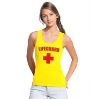 Shoppartners Sexy lifeguard/ strandwacht mouwloos shirt geel dames Geel