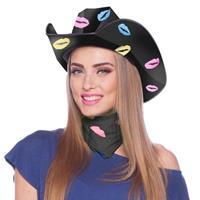 Zwarte sjaaltje/bandana met lippen/kusjes voor dames