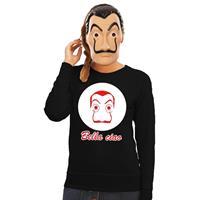 Shoppartners Zwarte Salvador Dali sweater met La Casa de Papel masker dames Zwart
