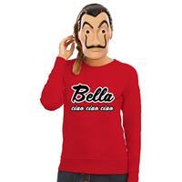 Shoppartners Rode Bella Ciao sweater met La Casa de Papel masker dames Rood