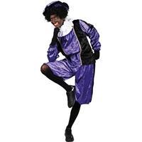 Roetveeg Pieten kostuum paars/zwart voor volwassenen