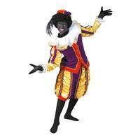 Luxe roetveeg Pieten kostuum geel/paars voor dames