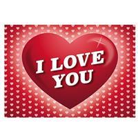 Shoppartners Valentijn - Romantische Valentijnskaart I Love You ansichtkaart met hartjes Roze