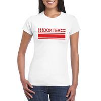 Shoppartners Dokter logo t-shirt wit voor dames
