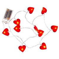 Valentijn - Rode hartjes lichtsnoer 120 cm Rood