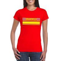 Shoppartners Brandweer logo t-shirt rood voor dames