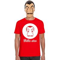 Shoppartners Rood Dali t-shirt met La Casa de Papel masker heren Rood