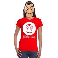 Shoppartners Rood Salvador Dali t-shirt met La Casa de Papel masker dames Rood