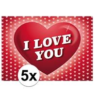 Shoppartners Valentijn - 5x Romantische Valentijnskaart I Love You met hartjes Roze