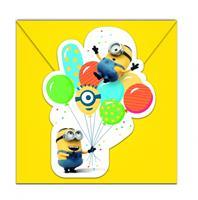 6 Minions balloon party uitnodigingen met enveloppen