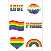 6x Regenboog pride kleuren plak tattoos Multi