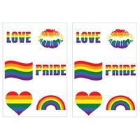 12x Regenboog pride kleuren plak tattoos Multi