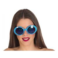 Fiesta carnavales Blauwe ronde verkleed zonnebril Blauw
