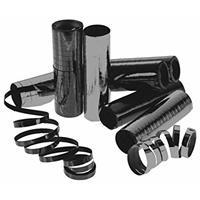 4x Serpentine rollen metallic zwart 4 meter Zwart