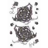 Halloween - Realistische gothic tattoos zwarte rozen 1 vel Zwart
